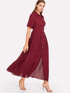 Button Through Box Pleated Shirt Dress