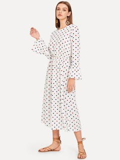 Bow Knot Polka Dot Print Dress