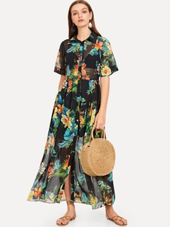 Tropical Print Semi Sheer Shirt Dress
