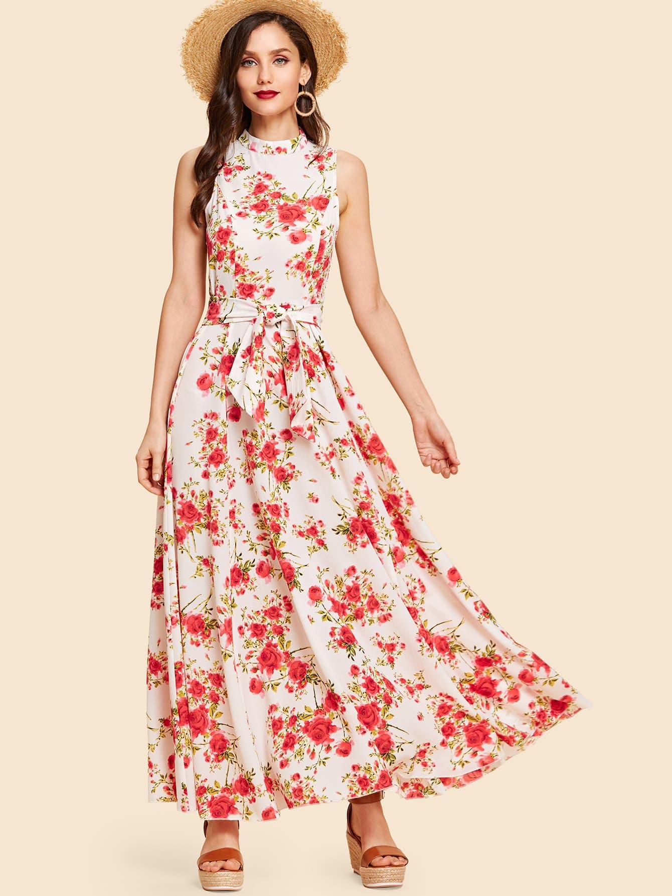 Bow Tie Neck Fit and Flare Floral Dress fit and flare patterned dress