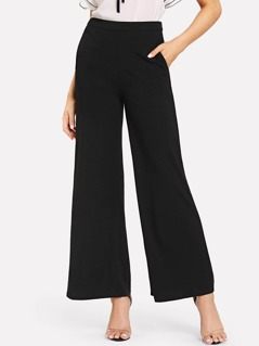 Wide Leg Solid Pants