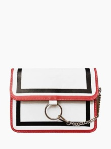 Striped Trim Shoulder Bag