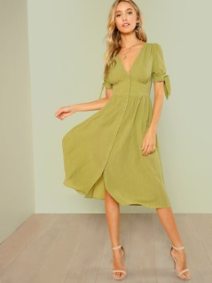 Knotted Cuff Button Up Dress