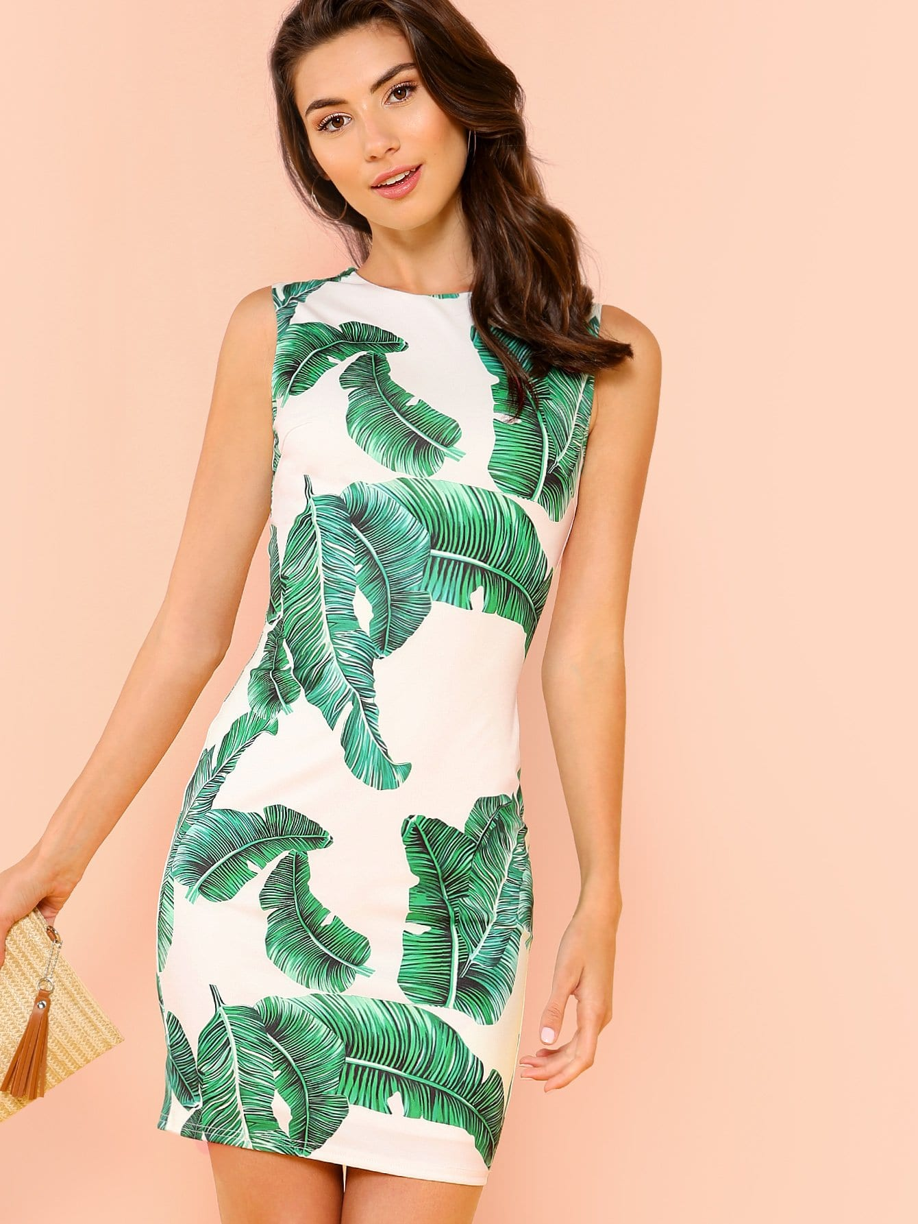 Купить Платье с рисунком из пальмового листа, Zandria Theis, SheIn