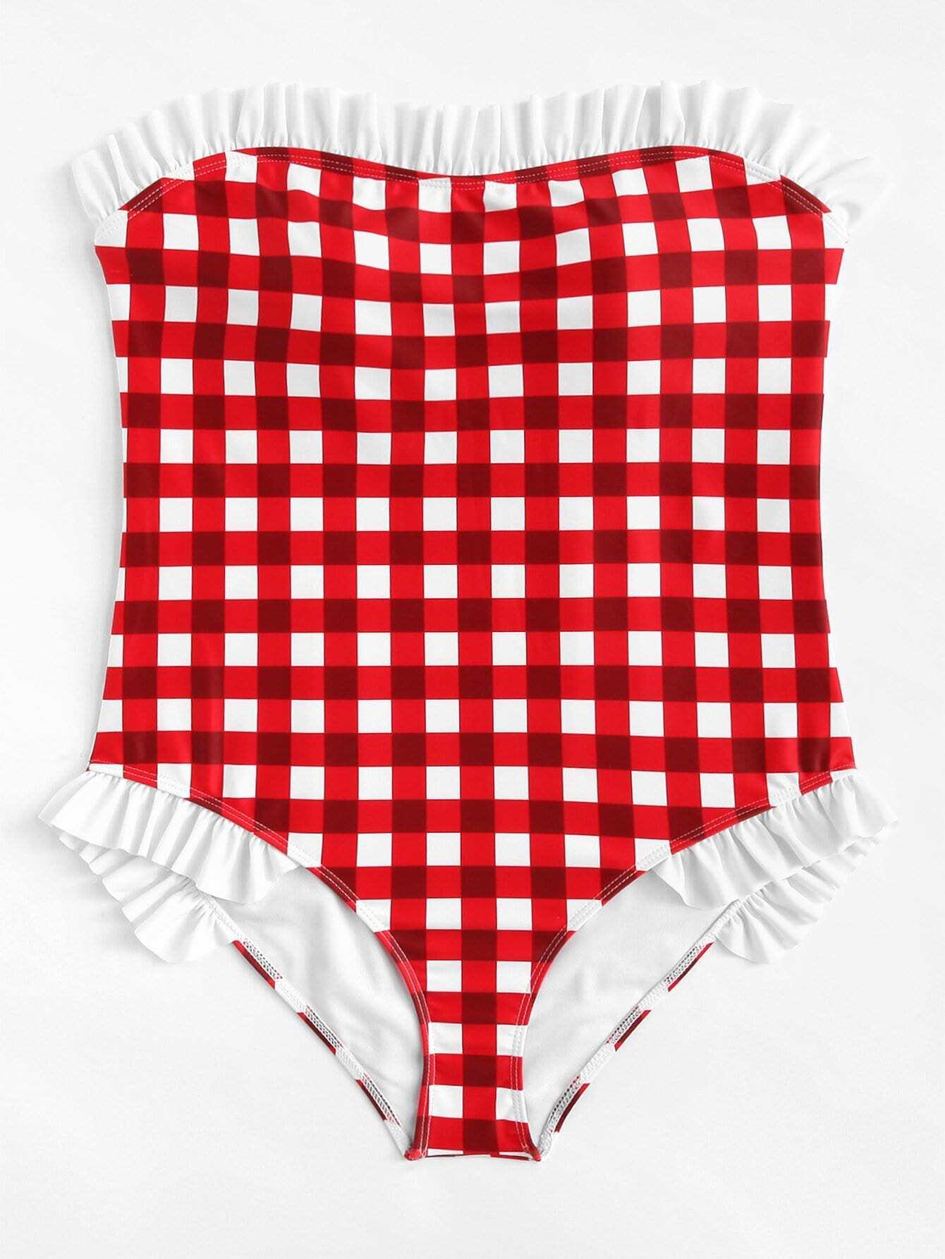 Plus Gingham Ruffle Swimsuit