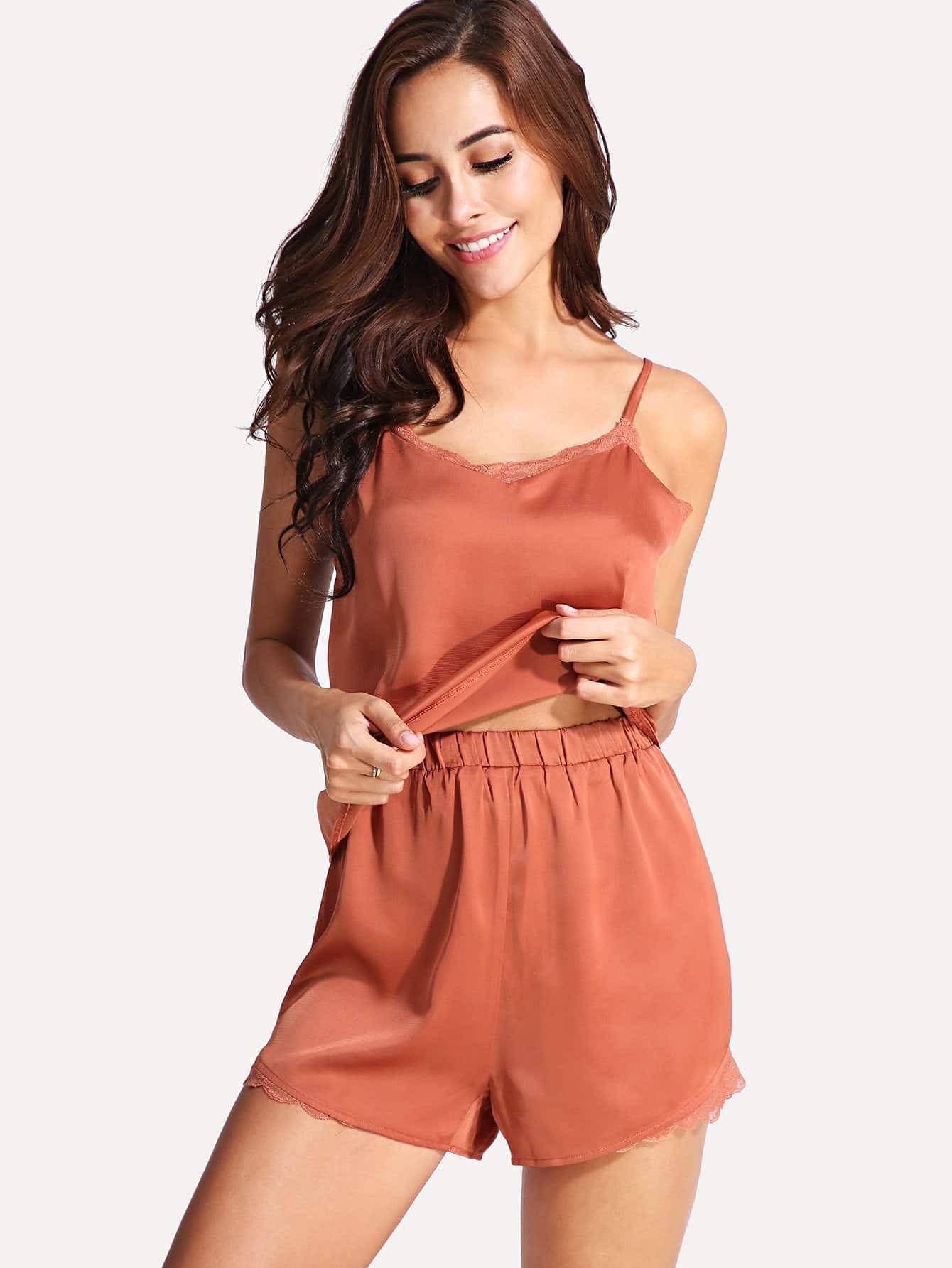 Contrast Lace Cami Pajama Set contrast lace cami with shorts pajama set