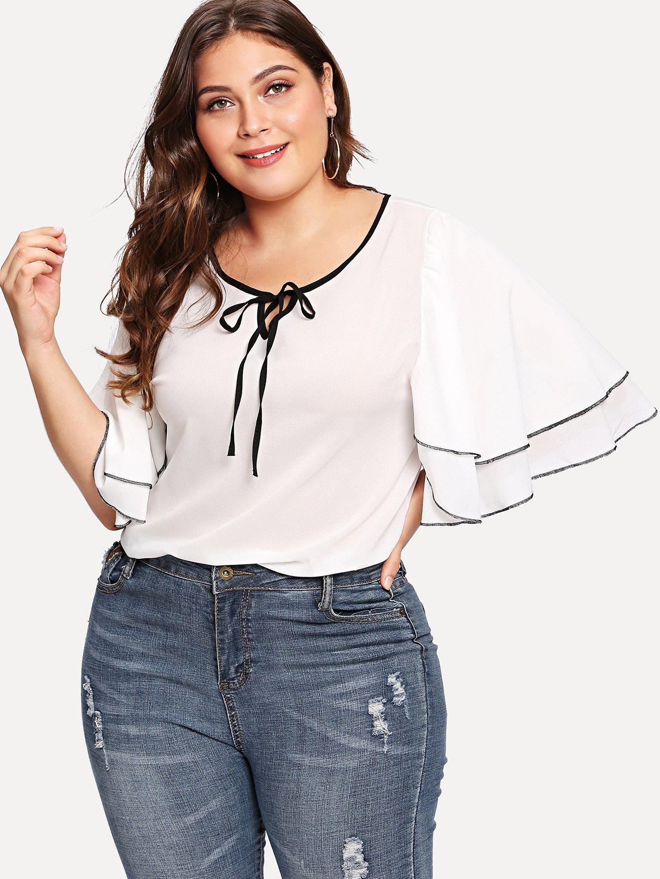 Купить Повседневные Одноцветный Полый Белые Блузы большого размера, Carol, SheIn