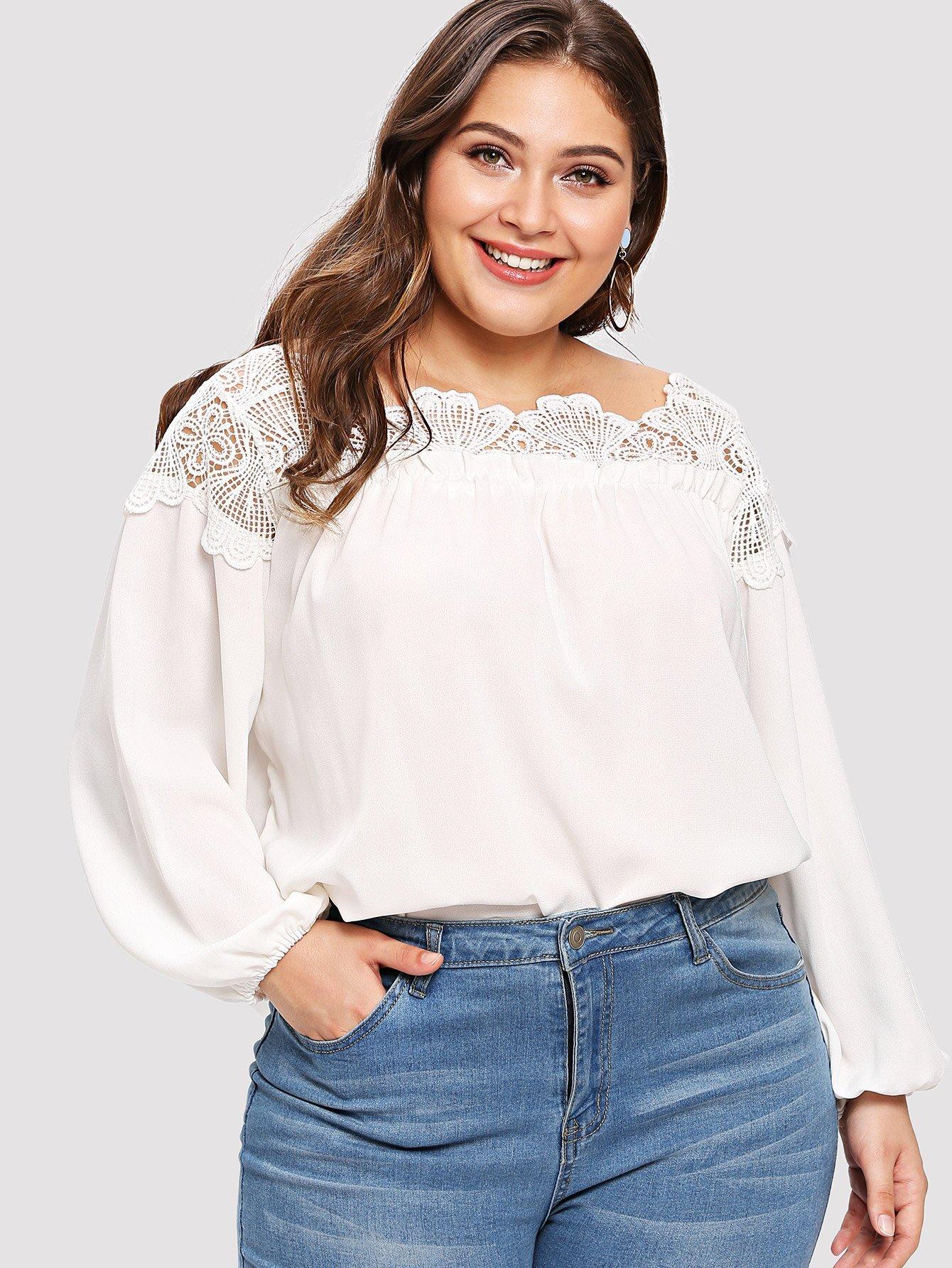 Купить Повседневные Одноцветный Контрастные кружева Белые Блузы большого размера, Carol, SheIn