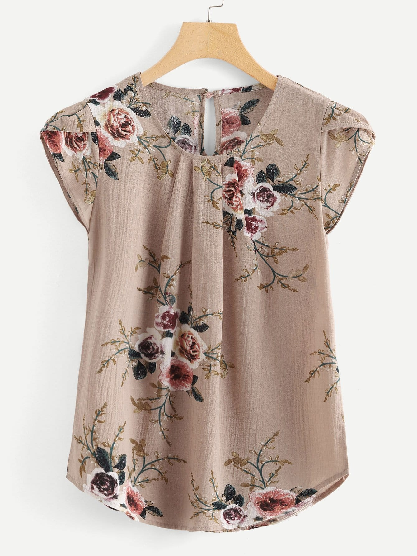 Petal Sleeve Floral Print Curved Hem Blouse ruched sleeve dolphin hem floral blouse