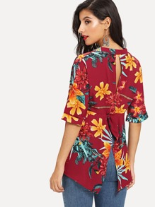 V Neckline Floral Print Cuffed Blouse