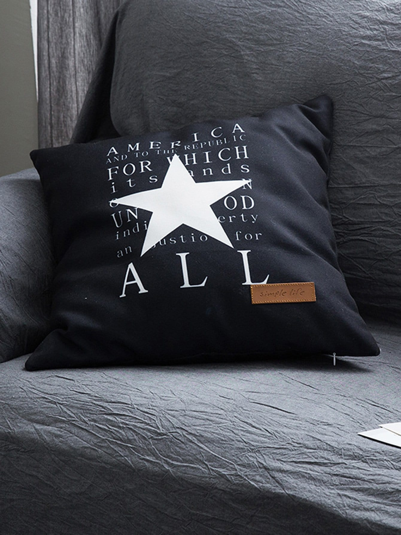Letter & Star Print Pillowcase Cover 1PC