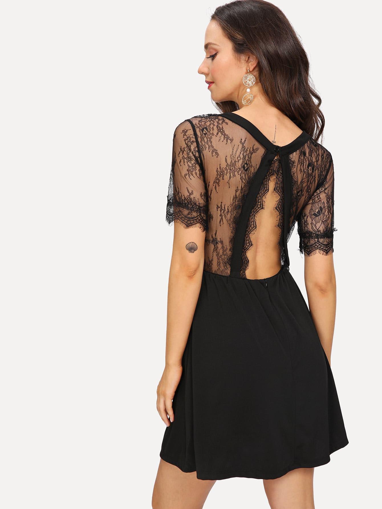 Купить Элегантный стиль Одноцветный Контрастные кружева Чёрные Платья, Camila B, SheIn