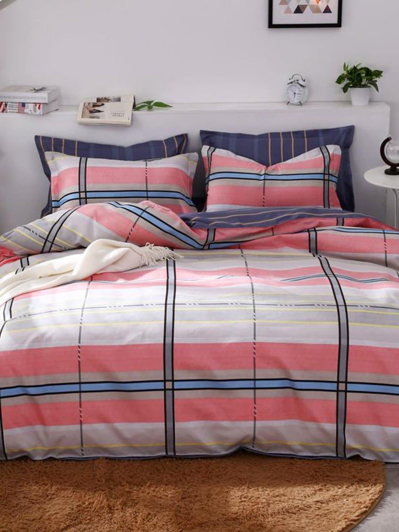 Striped & Contrast Plaid Print Sheet Set
