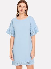 Eyelet Embroidered Plain Dress