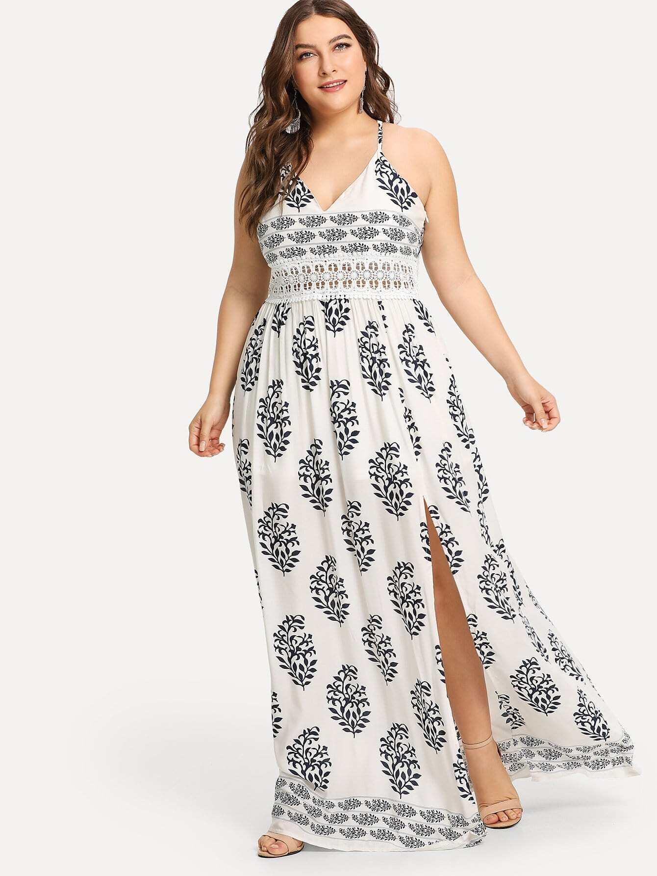 Plus Graphic Print Split Contrast Lace Dress