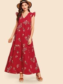 Frill Trim Floral Print Dress