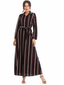Striped Tie Waist Button Front Dress