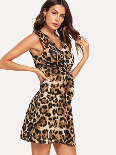 Knot Front Keyhole Back Leopard Dress