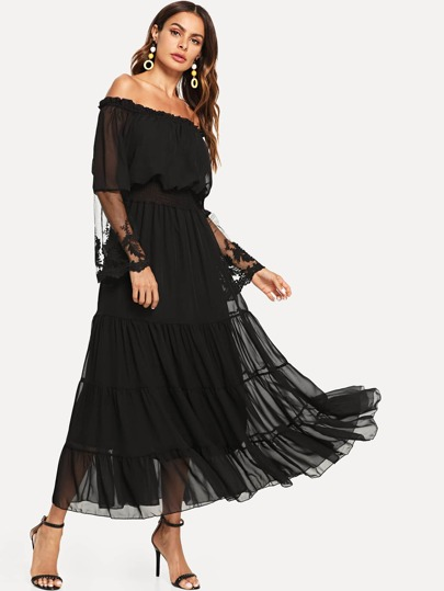 a8ffc576ed23 Off Shoulder Mesh Overlay Tiered Dress
