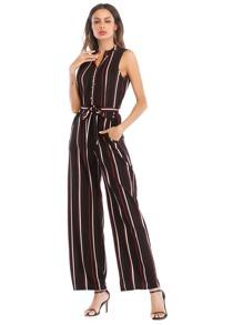 Striped Tie Waist Wide Leg Jumpsuit