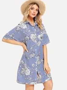 Drop Shoulder Floral Striped Shirt Dress