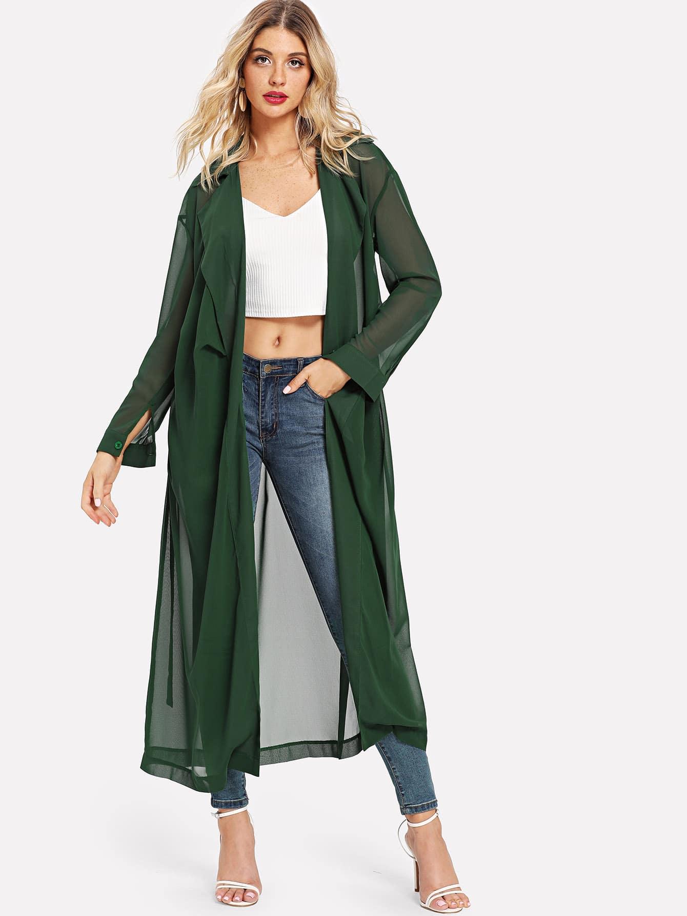 Купить Повседневный Одноцветный кимоно Зеленые Кимоно, Nathane, SheIn