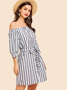 Off Shoulder Self Tie Waist Striped Dress
