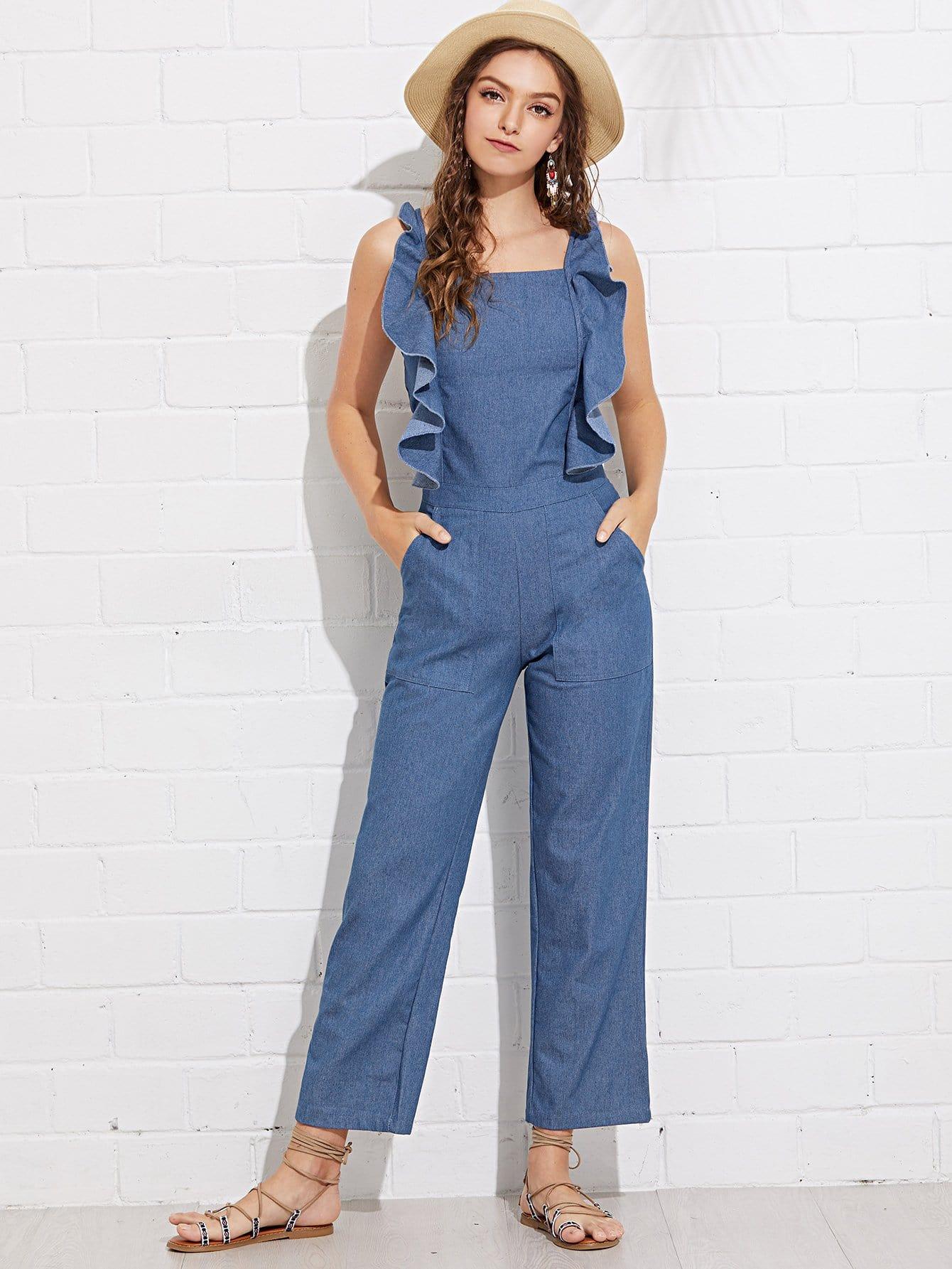 Купить Повседневный с воланами Синий джинсы-сарафан, Luiza, SheIn