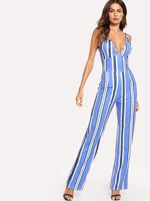 Striped Deep V Neck Jumpsuit