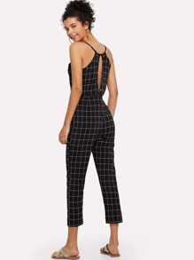 Cut Out Back Checked Cami Jumpsuit