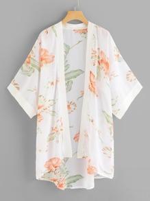 Floral Print Dip Hem Kimono