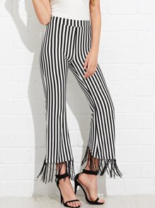 Fringe Hem Striped Wide Leg Pants