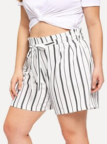 Plus Striped Drawstring Pocket Shorts