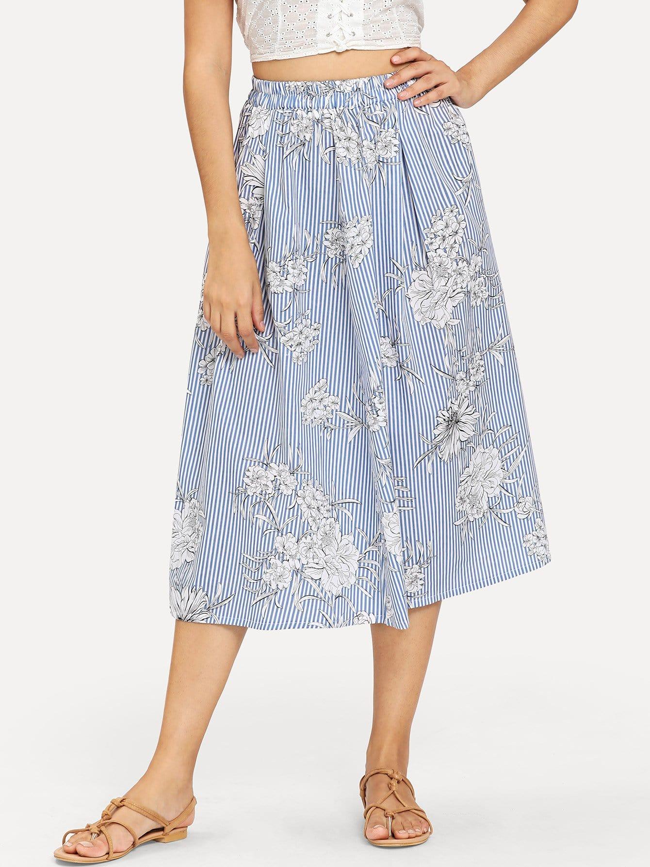 Floral Print Striped Skirt