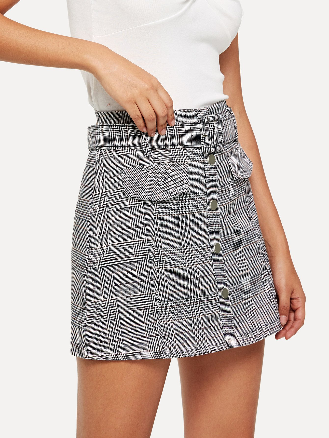 Single Breasted Self Tie Waist Checked Skirt цена 2017