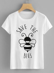Letter And Bee Print Tee