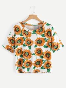 Drop Shoulder Floral Print T-shirt