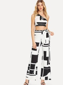 Geo Print One Shoulder Top With Wide Leg Pants