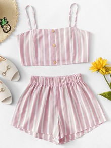 Striped Cami Top With Shorts