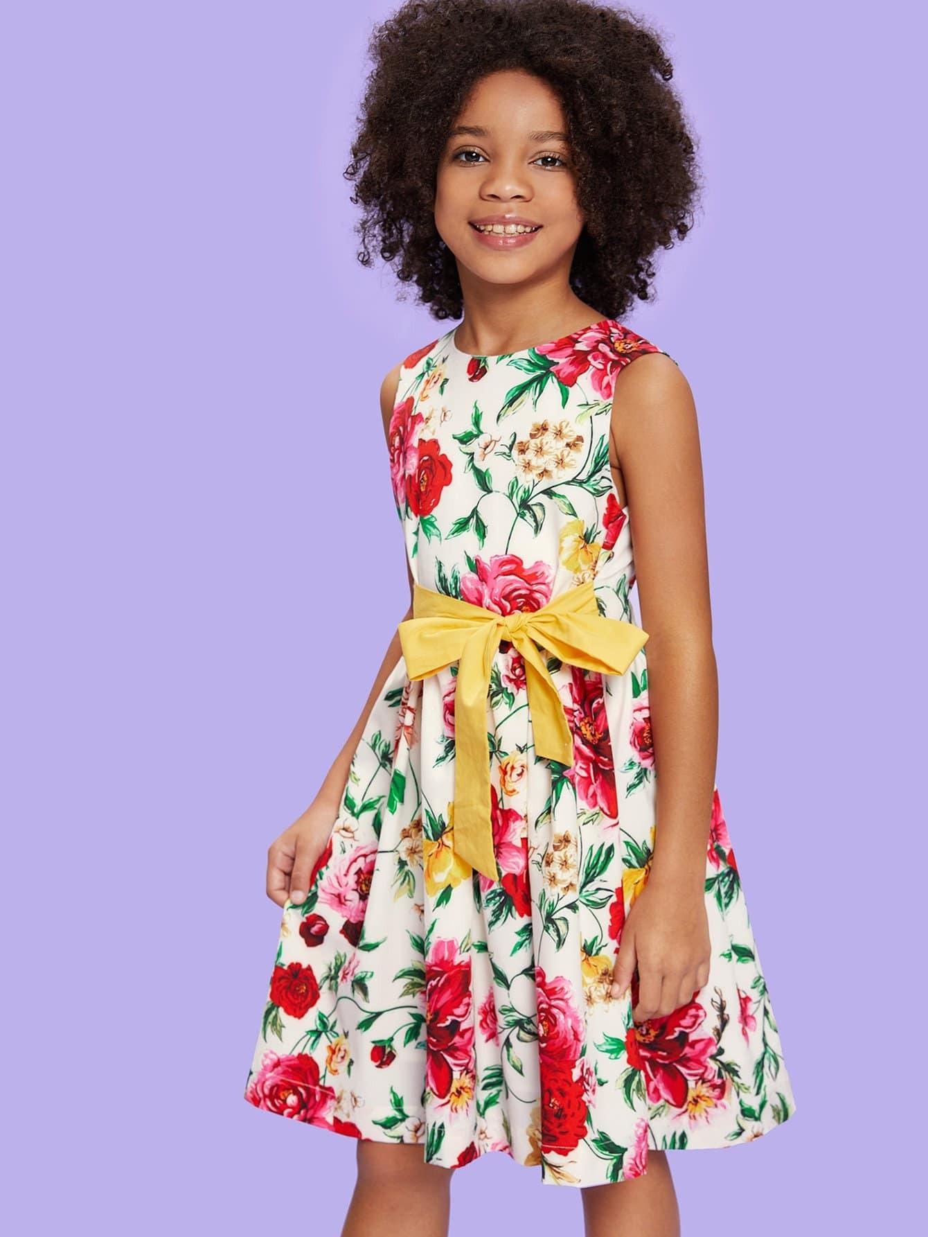 Girls Flower Print Sleeveless Dress dinstry dresses sleeveless kids dresses for girls wedding princess party pageant formal dress sleeveless flower girls dress 2018
