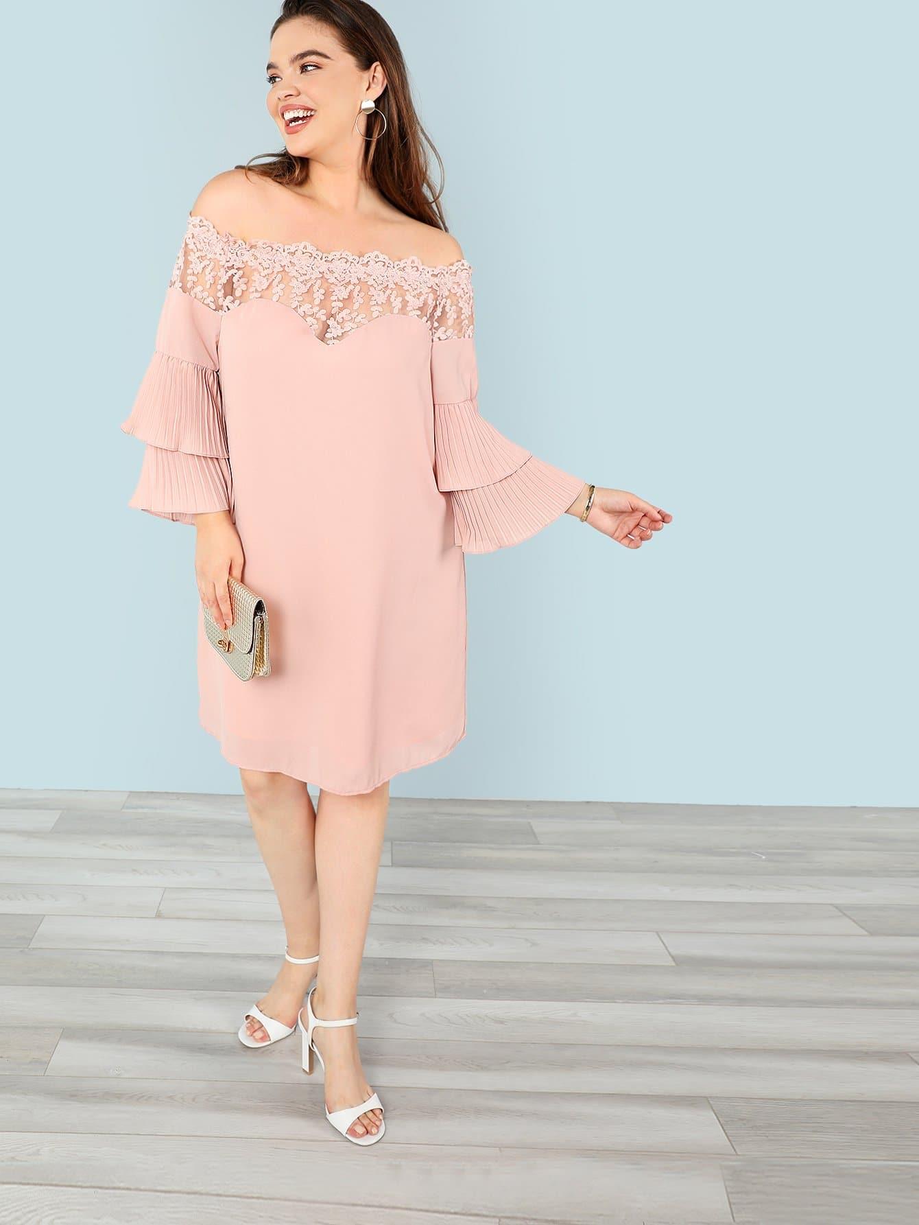 цены Plus Embroidered Mesh Insert Pleated Sleeve Bardot Dress