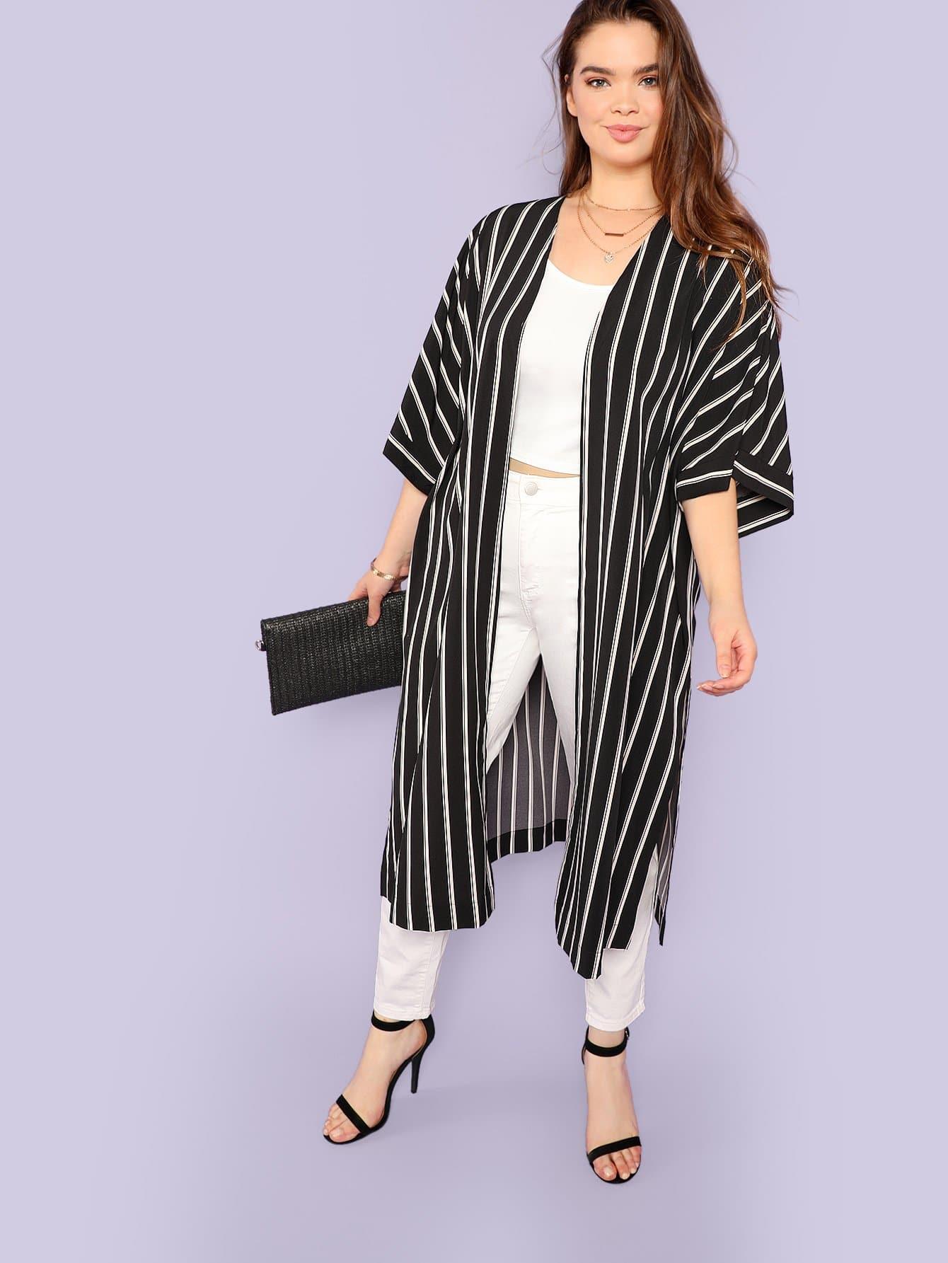 Plus Bell Sleeve Split Side Striped Longline Kimono split side longline blazer