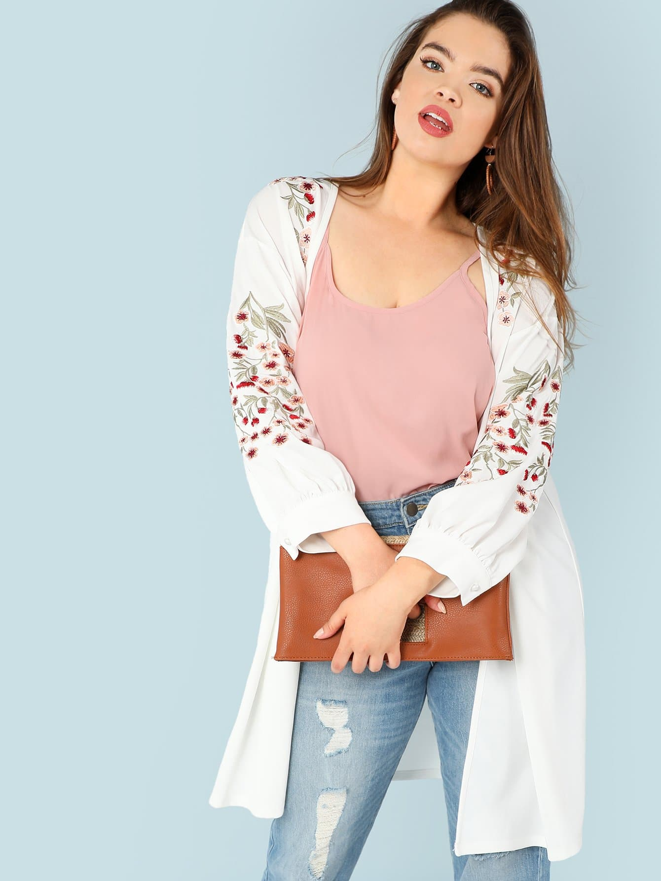 Plus Blossom Embroidered Bishop Sleeve Cardigan embroidered bishop sleeve pompom trim jacket
