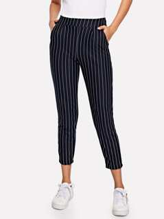 Pocket Side Pinstripe Cigarette Pants