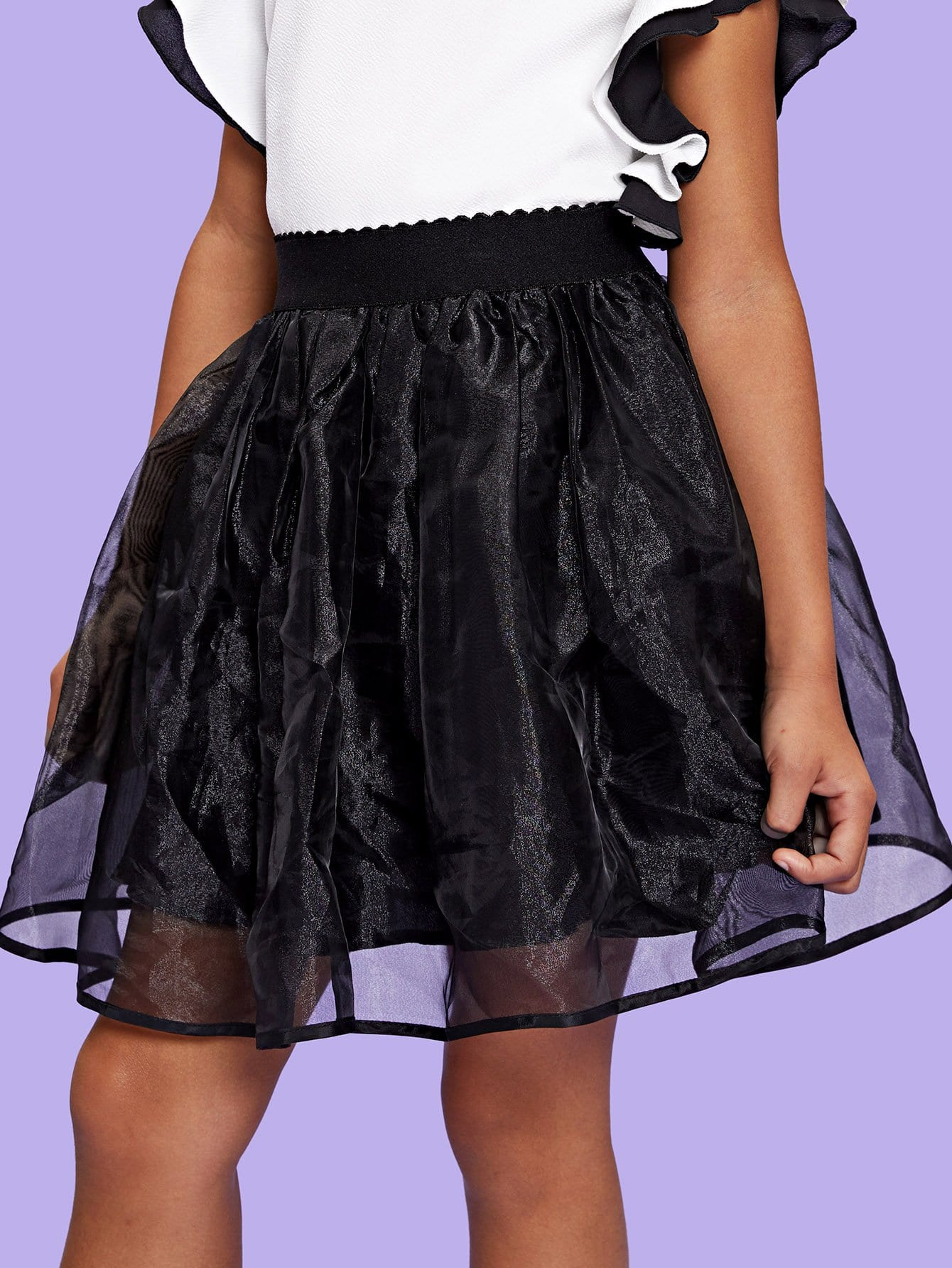 Girls Elastic Waist Organza Skirt layered organza skirt