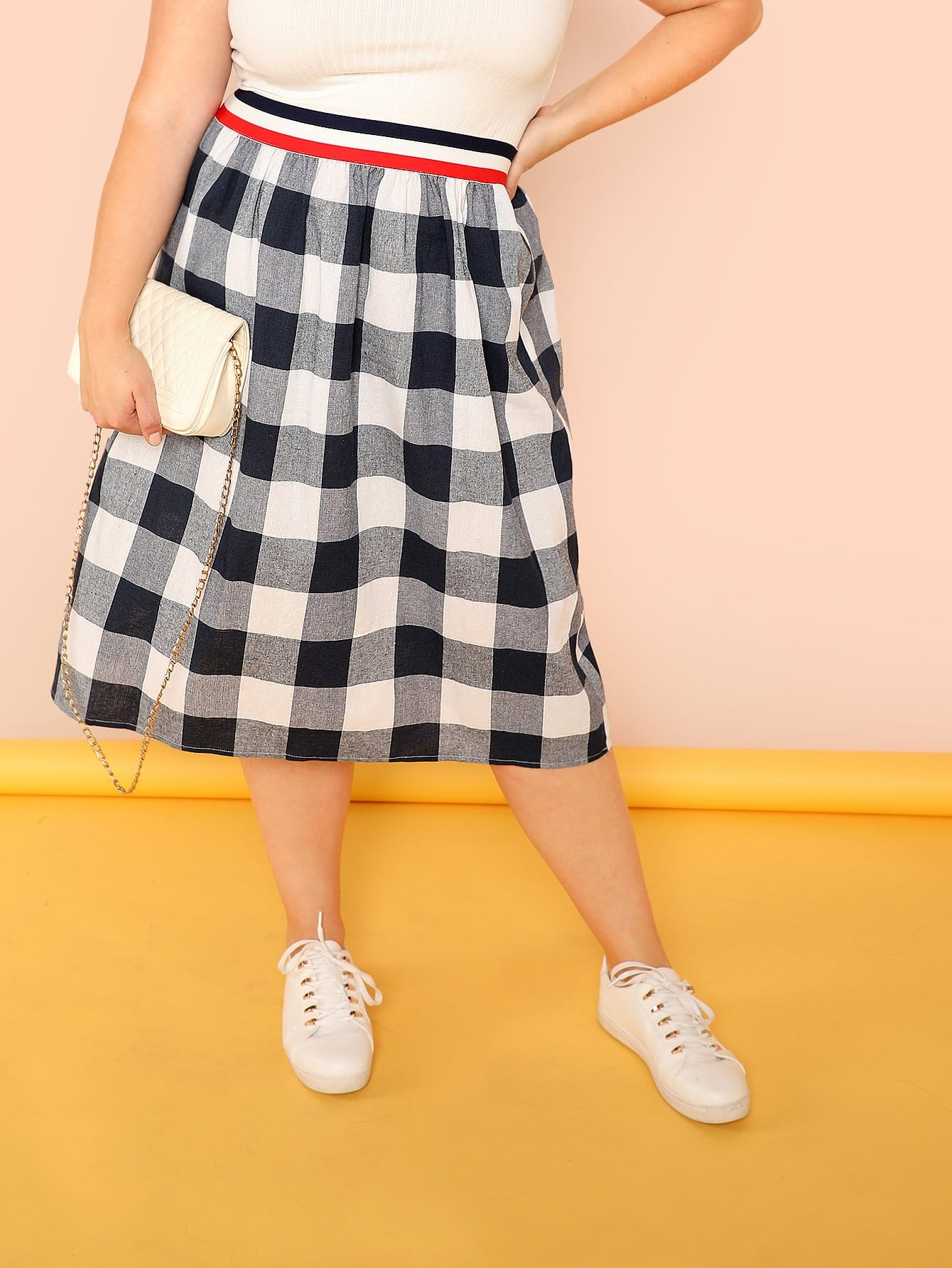 Купить Полосатый пояс Gingham Flare Skirt, null, SheIn