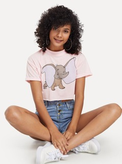 Cartoon Elephant Print Cuffed Tee