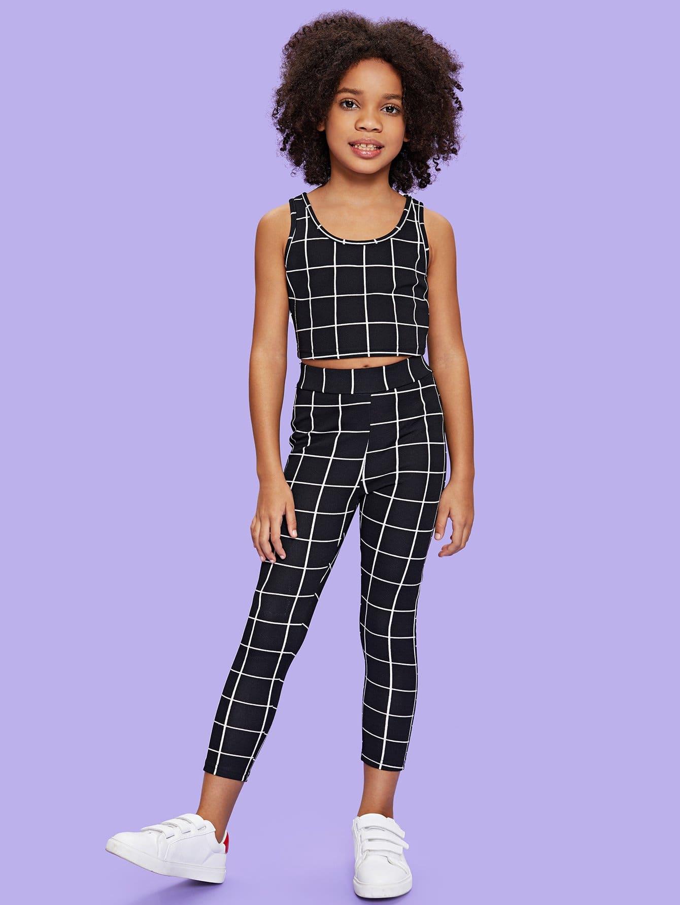 где купить Girls Grid Tank Top & Pants Set дешево