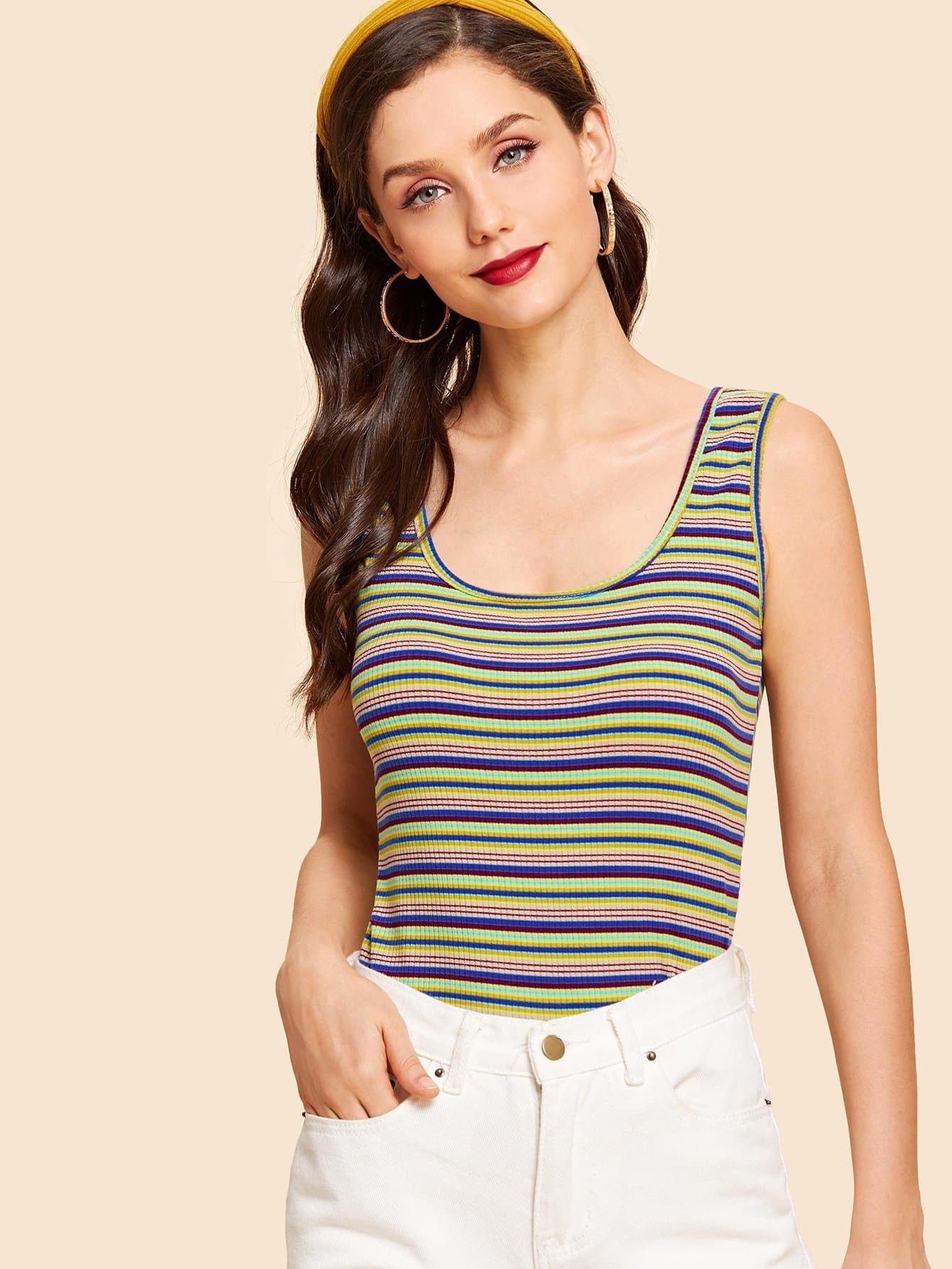 Striped Print Scoop Neck Tank Top women s simple scoop neck striped floral hem tank top