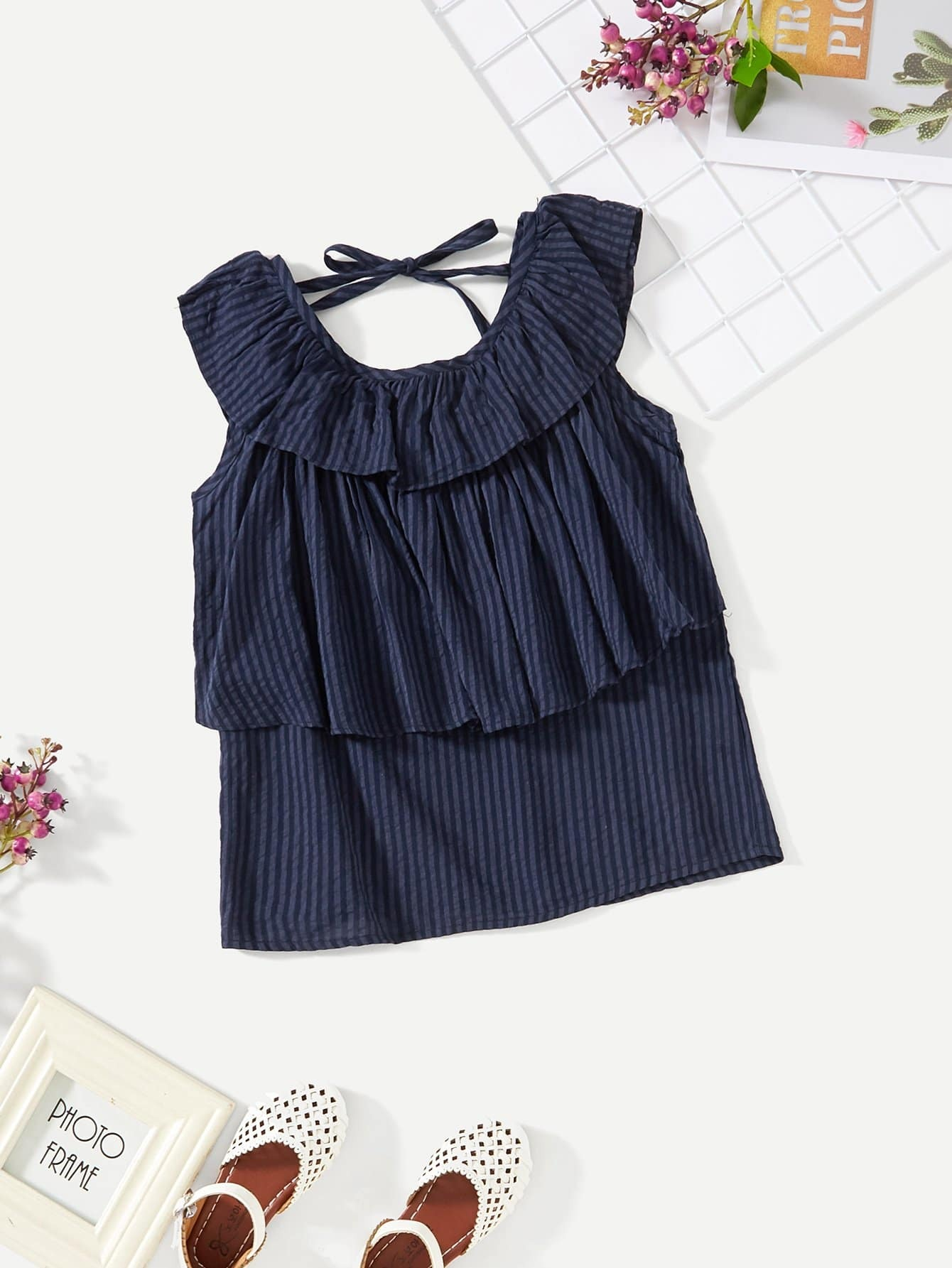 Ruffle Layered Solid Shell Top
